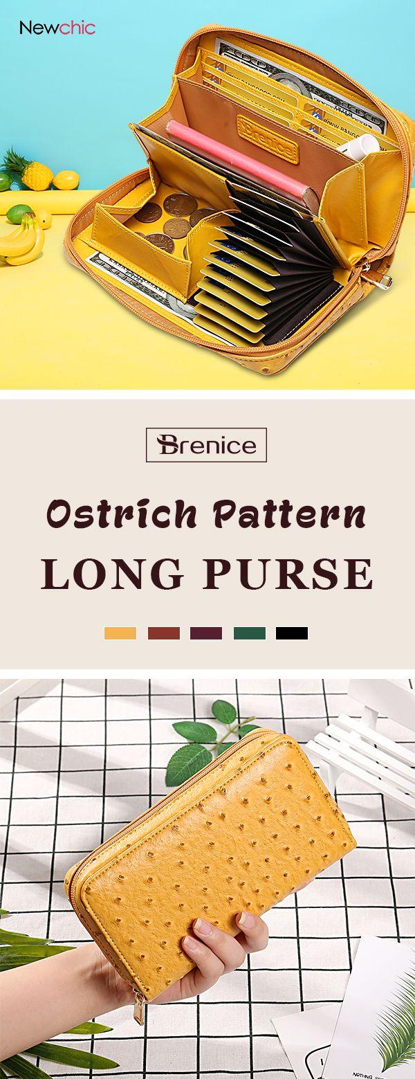 【51% off】Women 9 Card Holder Wallet Ostrich Pattern Long Purse Coin Bag.#coin #cardbag #womenbag #couponing