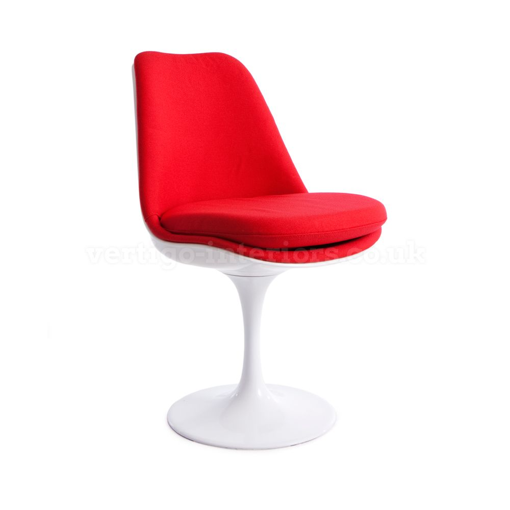 red upholstered dining chairs. Saarinen Style Upholstered Tulip Chair - White Chair, Red Fabric | Vertigo Interiors USA Dining Chairs F
