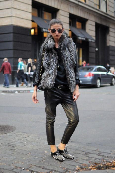 drop crotch leather pants