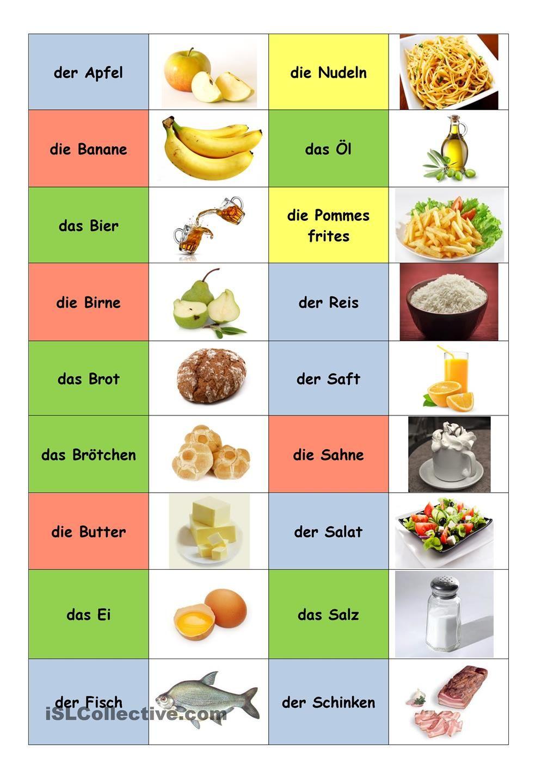 German Food And Drink Worksheets