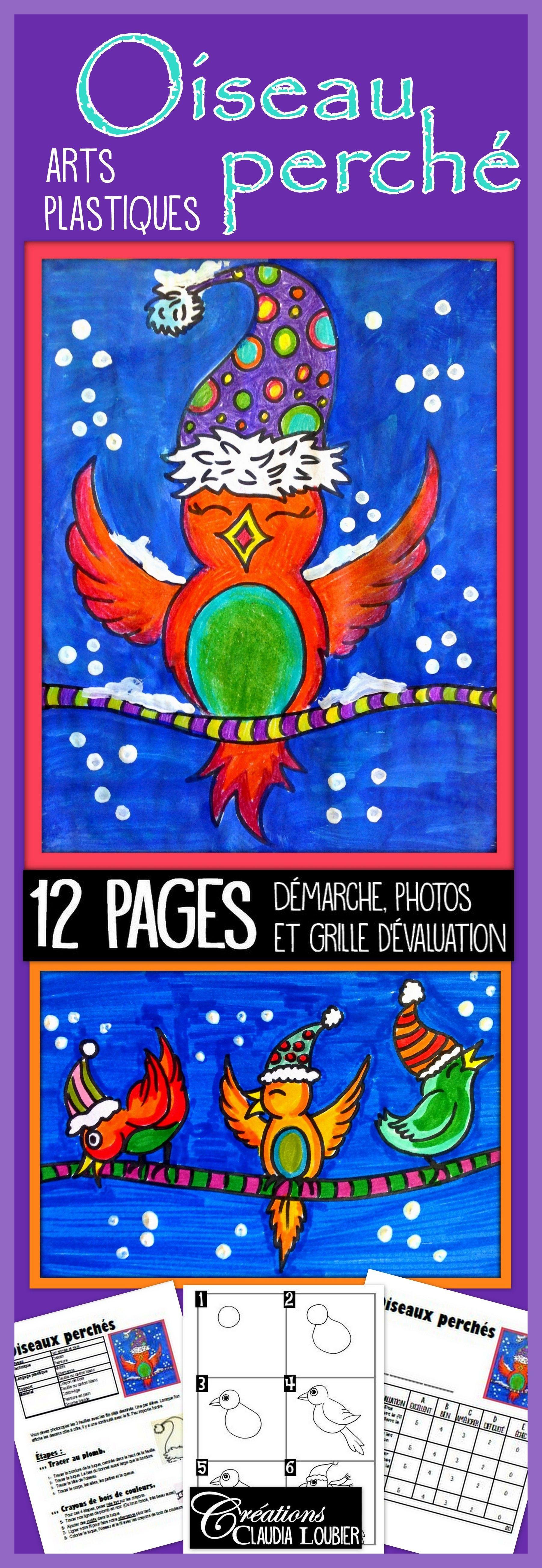 Hiver arts plastiques oiseaux perch s no l art lesson plans tpt cr ations claudia - Dessiner un paysage d hiver ...