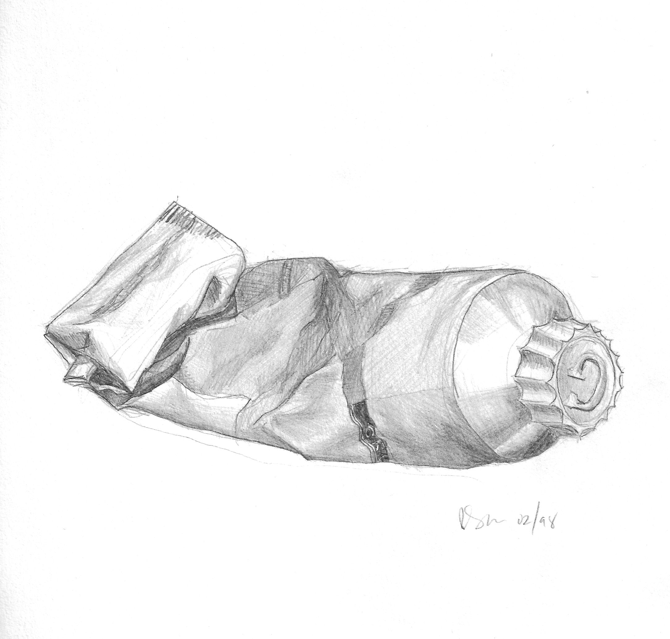 I used to paint too this is a pencil sketch of one of my used paint tubes feb 1998