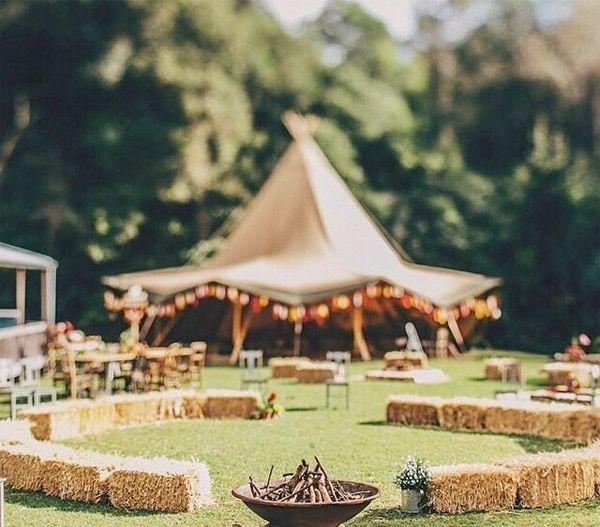 Music Festival Inspired Outdoor Wedding Reception Bonfire