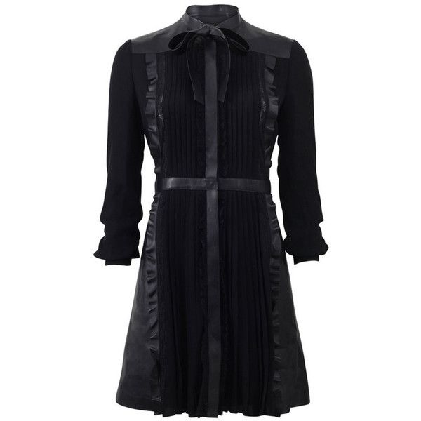 Valentino Tie Neck Leather & Lace Dress ($8,990) ❤ liked on Polyvore featuring dresses, short dresses, black, black mini dress, neck ties, black neck tie, long sleeve black cocktail dress and black lace dress