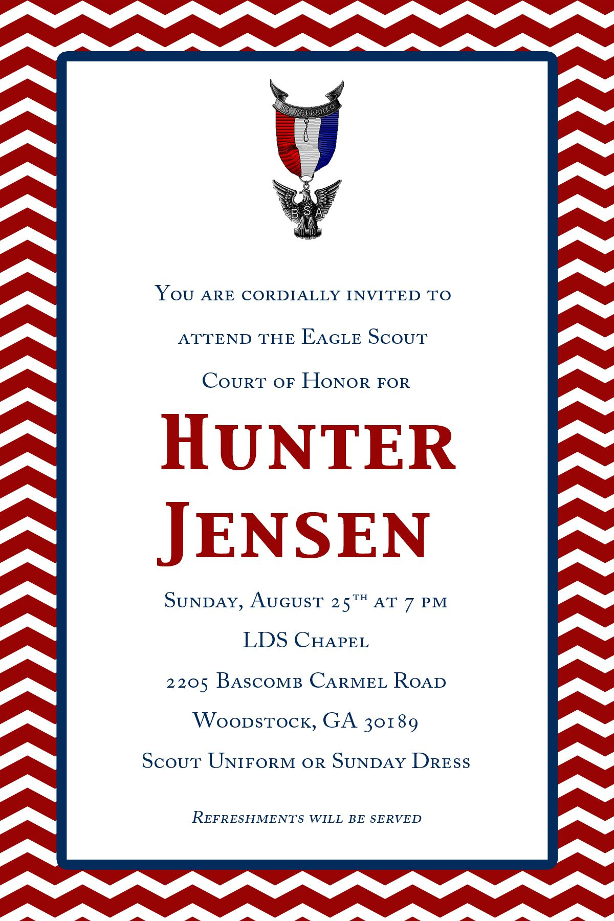 Hunters Eagle Court Of Honor Invites Off Etsy
