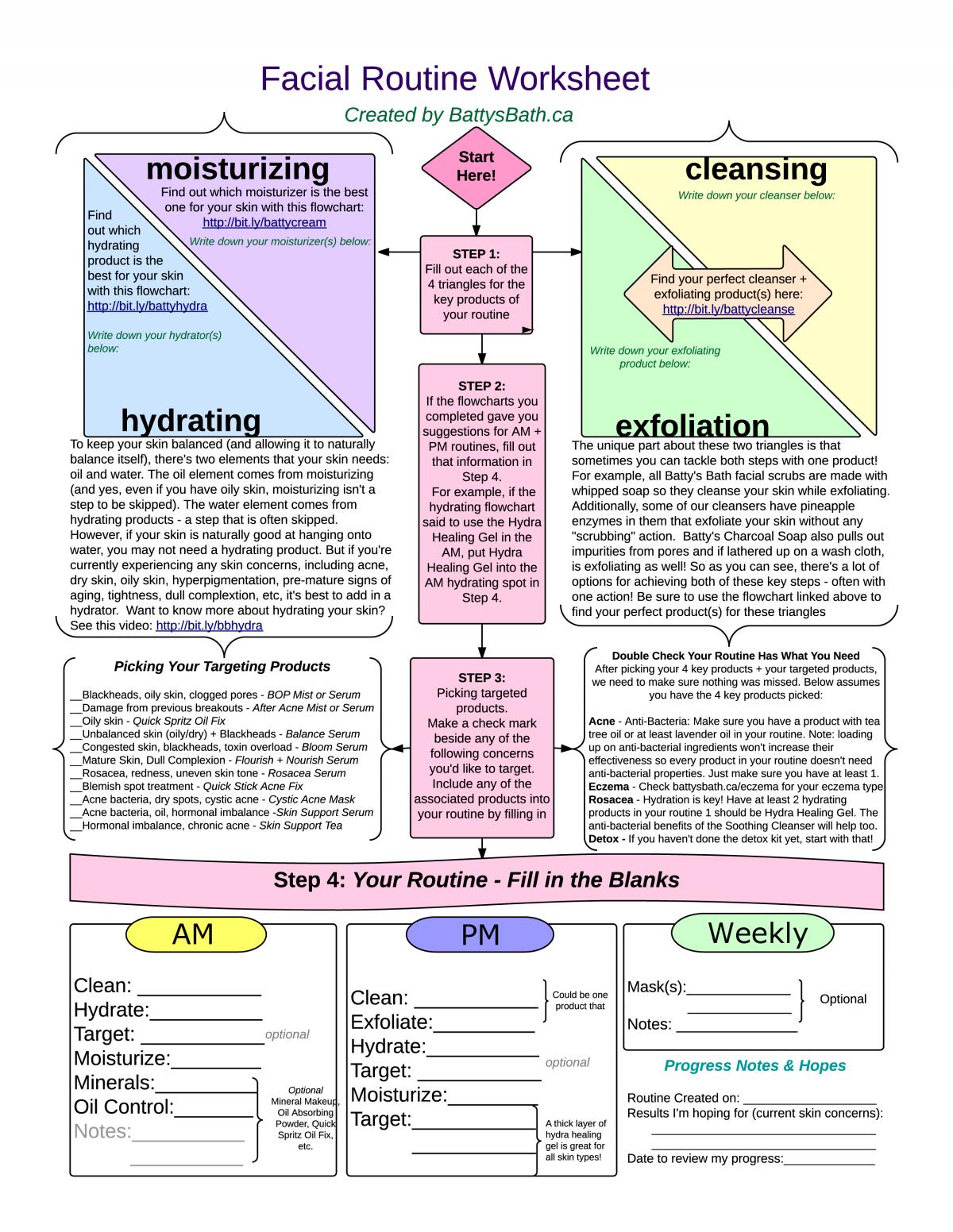 Skin Care Routine Worksheet Batty S Blog