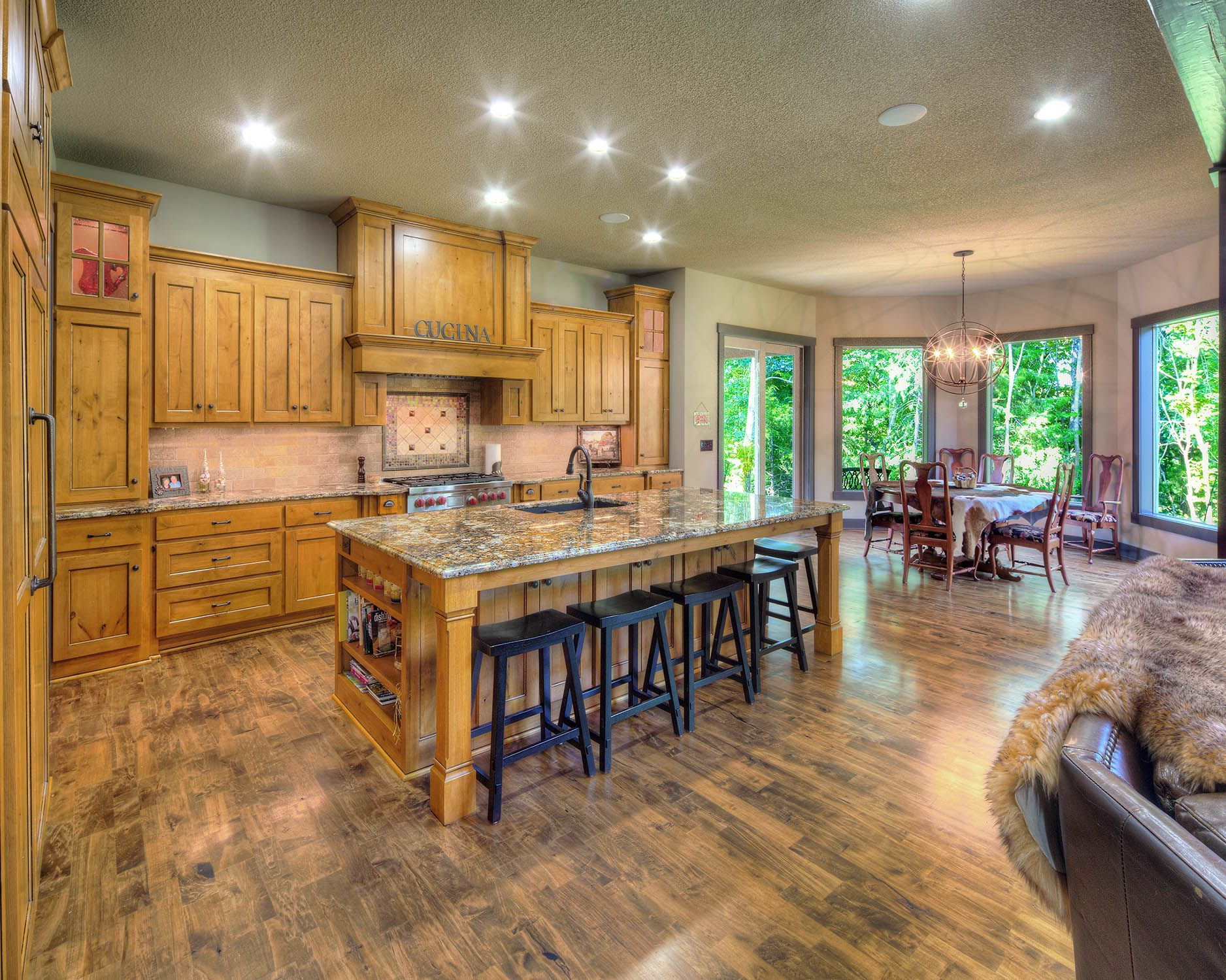 open concept kitchen and dining area no formal dining