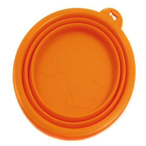 Healthy Diet Ros Silicone Pet Expandable/Collapsible Travel Bowl - Size: 1.5 Cups, Color: Orange