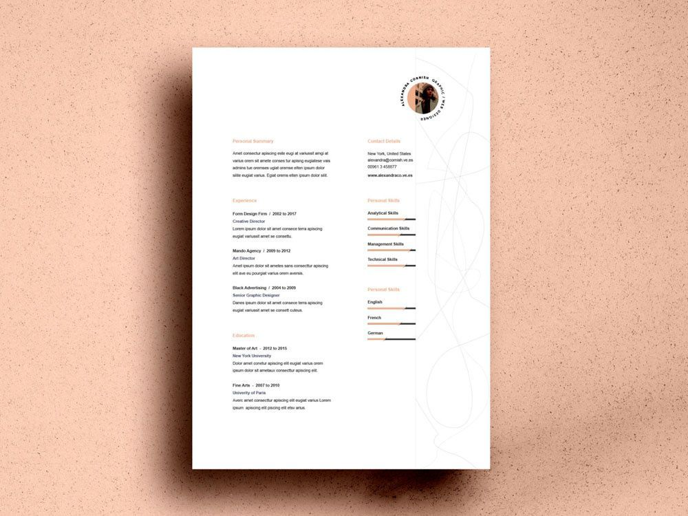 Free Resume Template with Simple Two Column Layout by