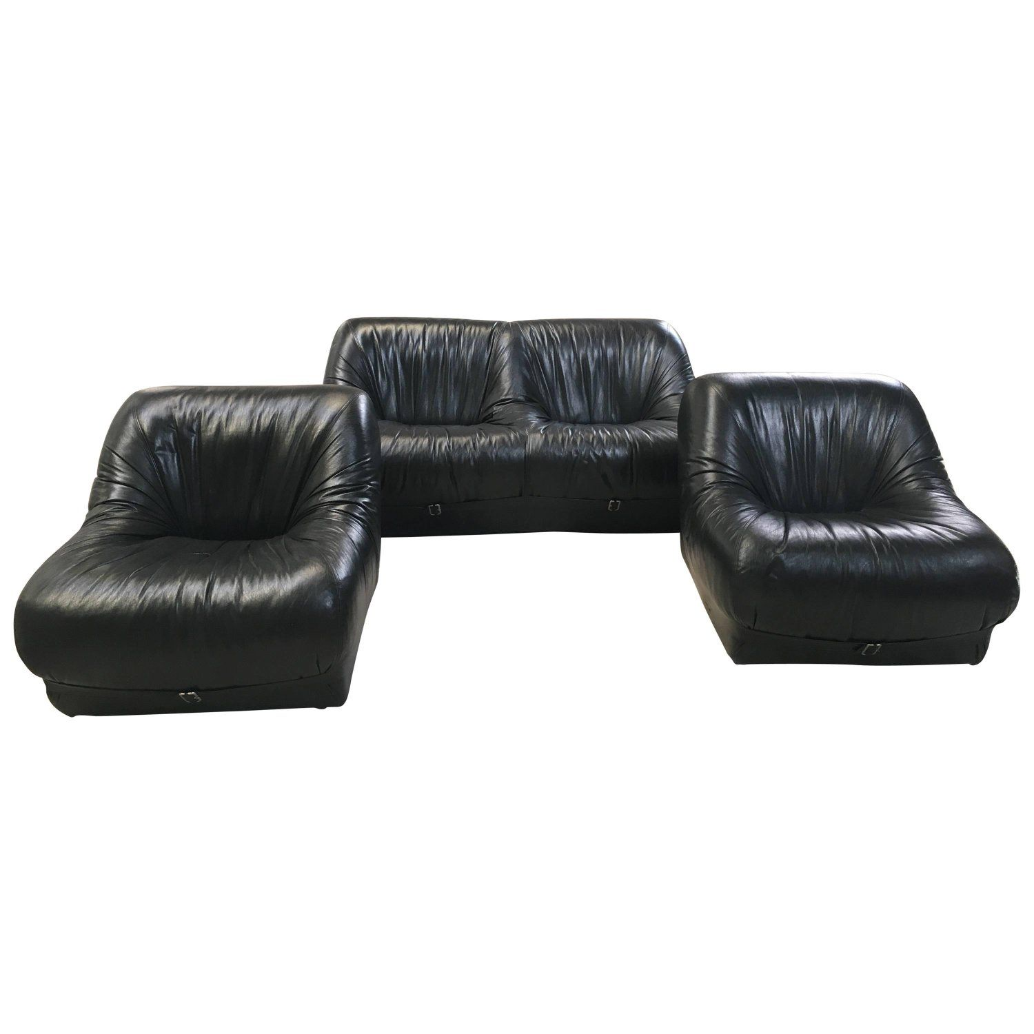 Italian Living Room Set with Leather Sofa and Armchairs from 1970s ...