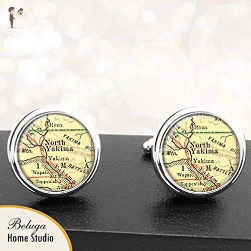 Yakima WA Antique Map Cufflinks Handmade USa City Cuff Links State