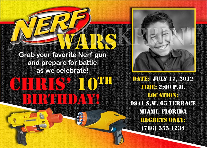 Free Printable Nerf Birthday Invitations ~ Nice free template nerf gun birthday party invitations baby shower invitation ideas