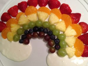 Just needs a pot of gold for St. Paddy's Day...  fruit rainbow with cloud dips