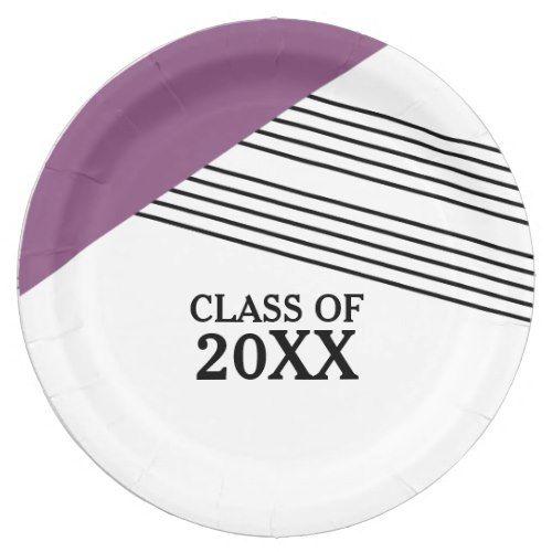 Purple Geometric Stripe Graduation Paper Plates  sc 1 st  Pinterest & Geometric Stripe Graduation Paper Plates