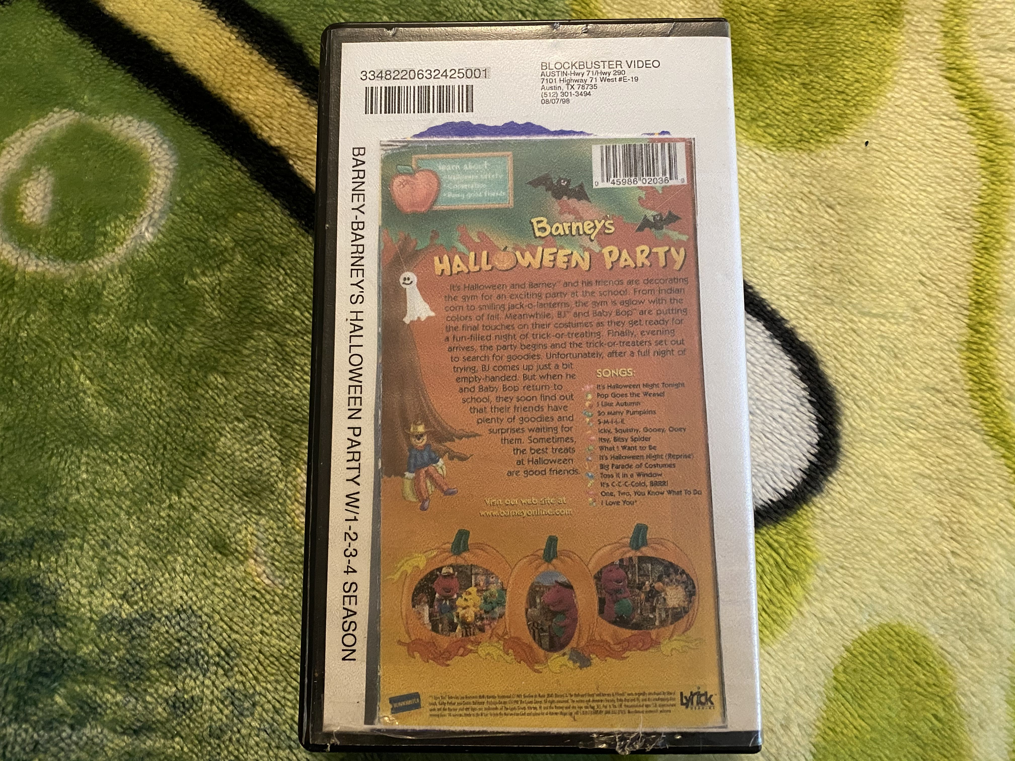 2020 Vhs Halloween Barney's Halloween Party (Blockbuster Exclusive) 1999 VHS in 2020