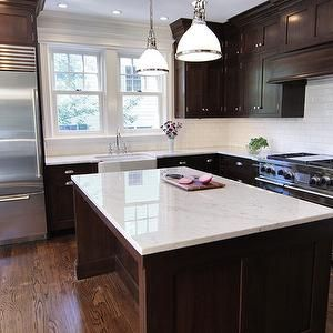 White Glass Subway Tile Backsplash With Dark Cabinets White Countertops Dark Cabinets Trendy Kitchen Backsplash