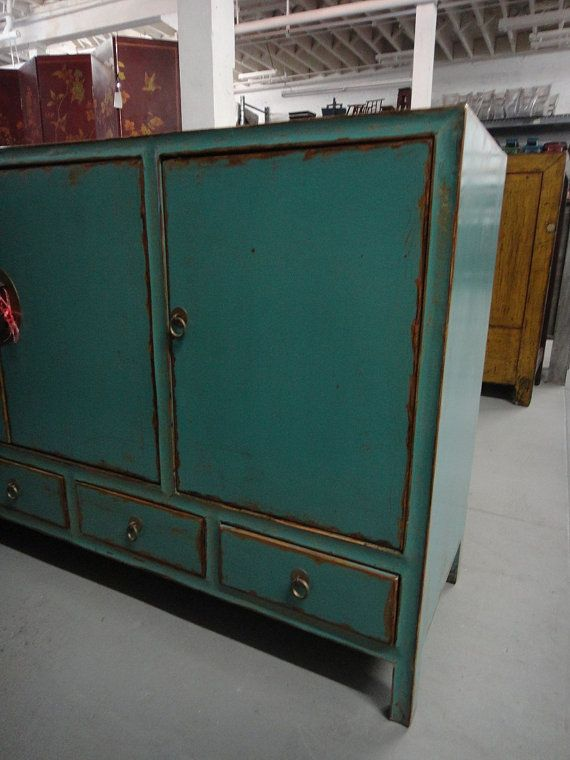 Asian Inspired Turquoise Media Cabinet/Console Los By Housecandyla, $1600.00
