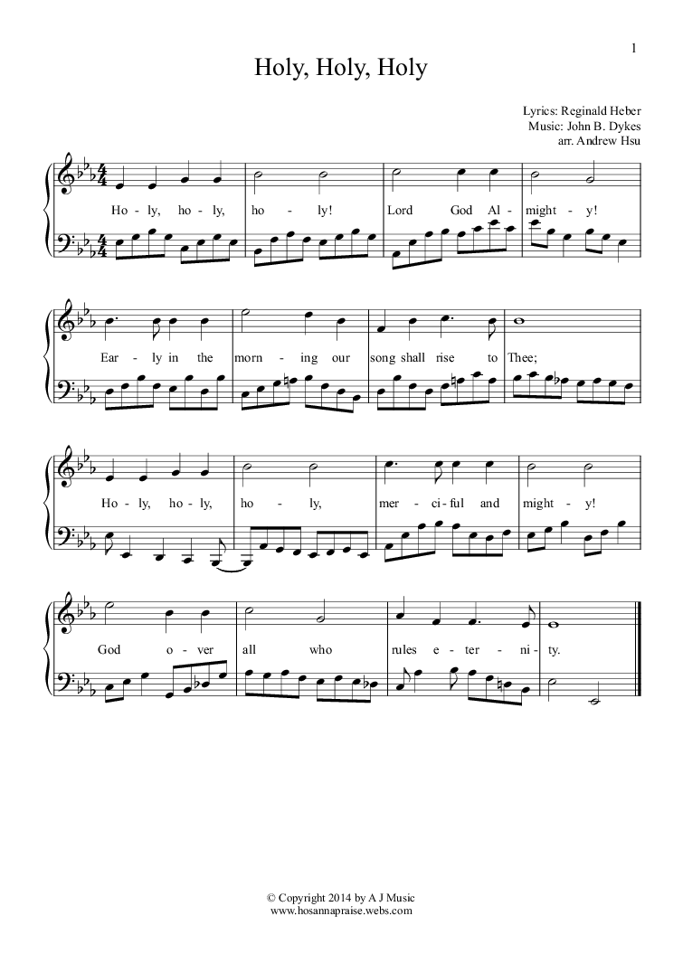 Holy, Holy, Holy - Easy Piano 1 for Solo instrument (Piano ...