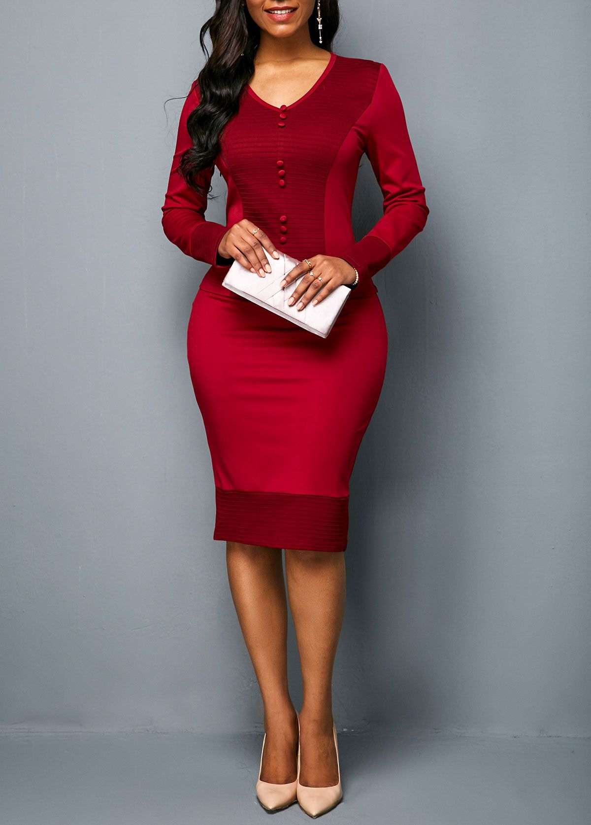 9daffe60df9 V Neck Long Sleeve Sheath Dress | Rotita.com - USD $28.63 | Michele ...