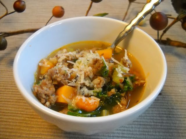 Soup-a-Woman... A Bowl Full of Autumn: Spicy Sausage, Wild Rice, and Butternut Soup