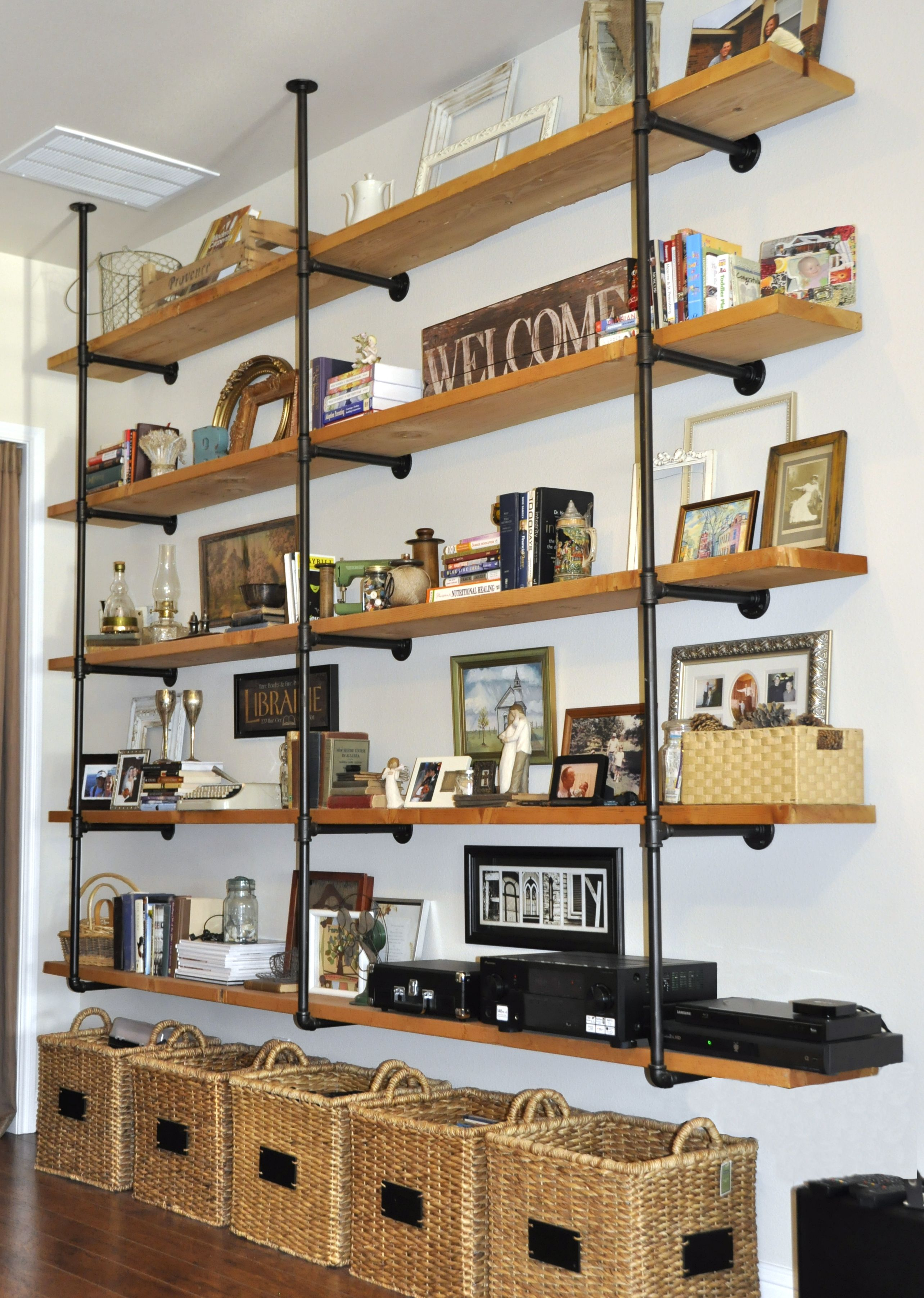 wood and iron pipe industrial shelves pipe builds. Black Bedroom Furniture Sets. Home Design Ideas