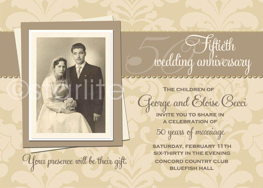 Antique anniversary photo invitation th anniversary