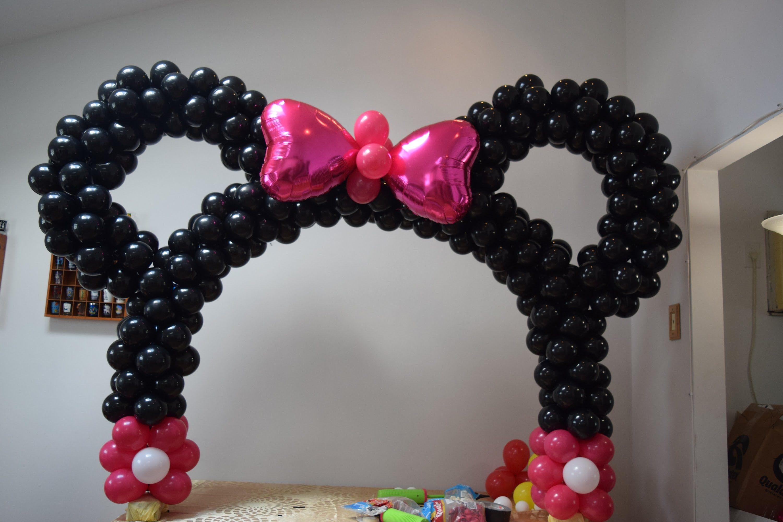 Scrivania In Legno Minnie Mouse : Arco de balões da minnie mouse com orelha facil de fazer usando