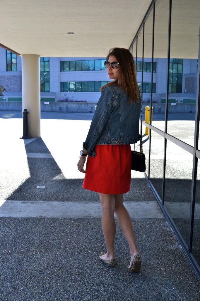 red skirt, red shirt, denim jacket | fishbowl fashion