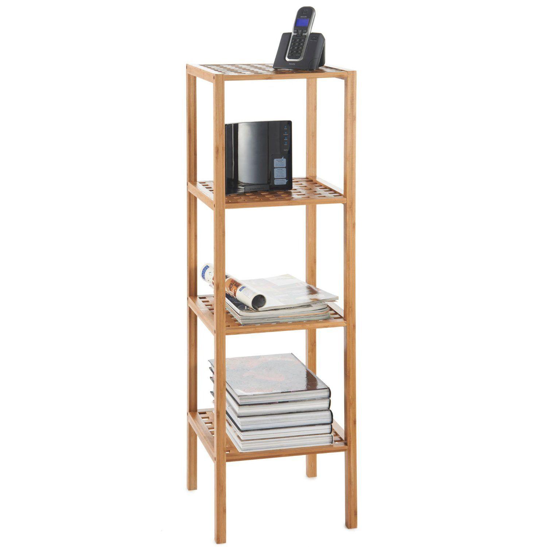 Images Of VonHaus Wooden Bamboo Tier Free Standing Shelf suitable for bathrooms living rooms hallways