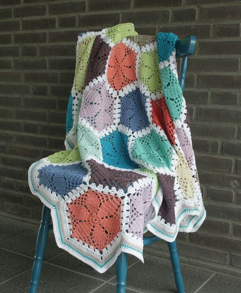 I am so happy! My crochet lace hexagon blanket is finished ...