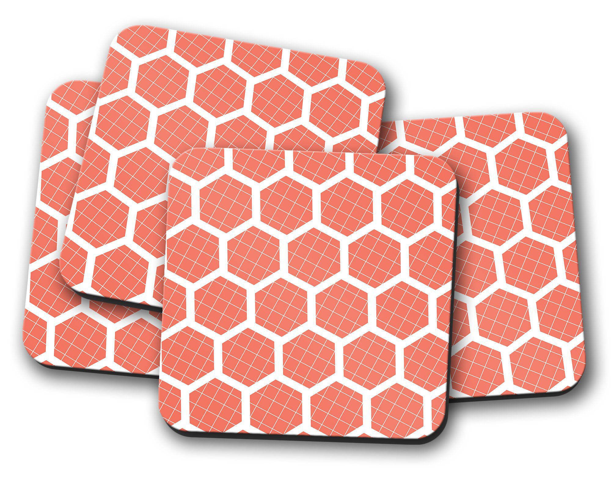 Orange Coasters Home Decor White Geometric Coaster Set