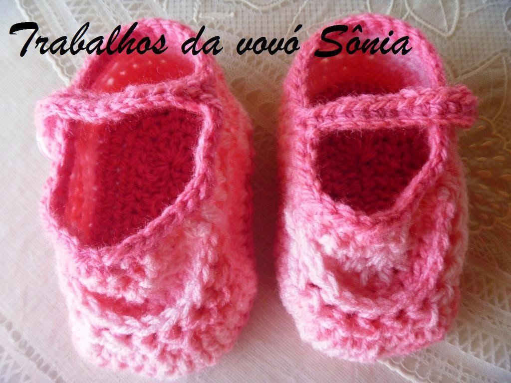 Trabalhos da vovó Sônia: Sapatinho de bebe rosa mescla - croché