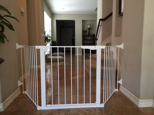 Custom Baby Proofing Safety Gate In San Juan Capistrano Ca This Sectional Gate Was Installed As You Exit The Kitchen Baby Safety Gate Baby Gates Safety Gate