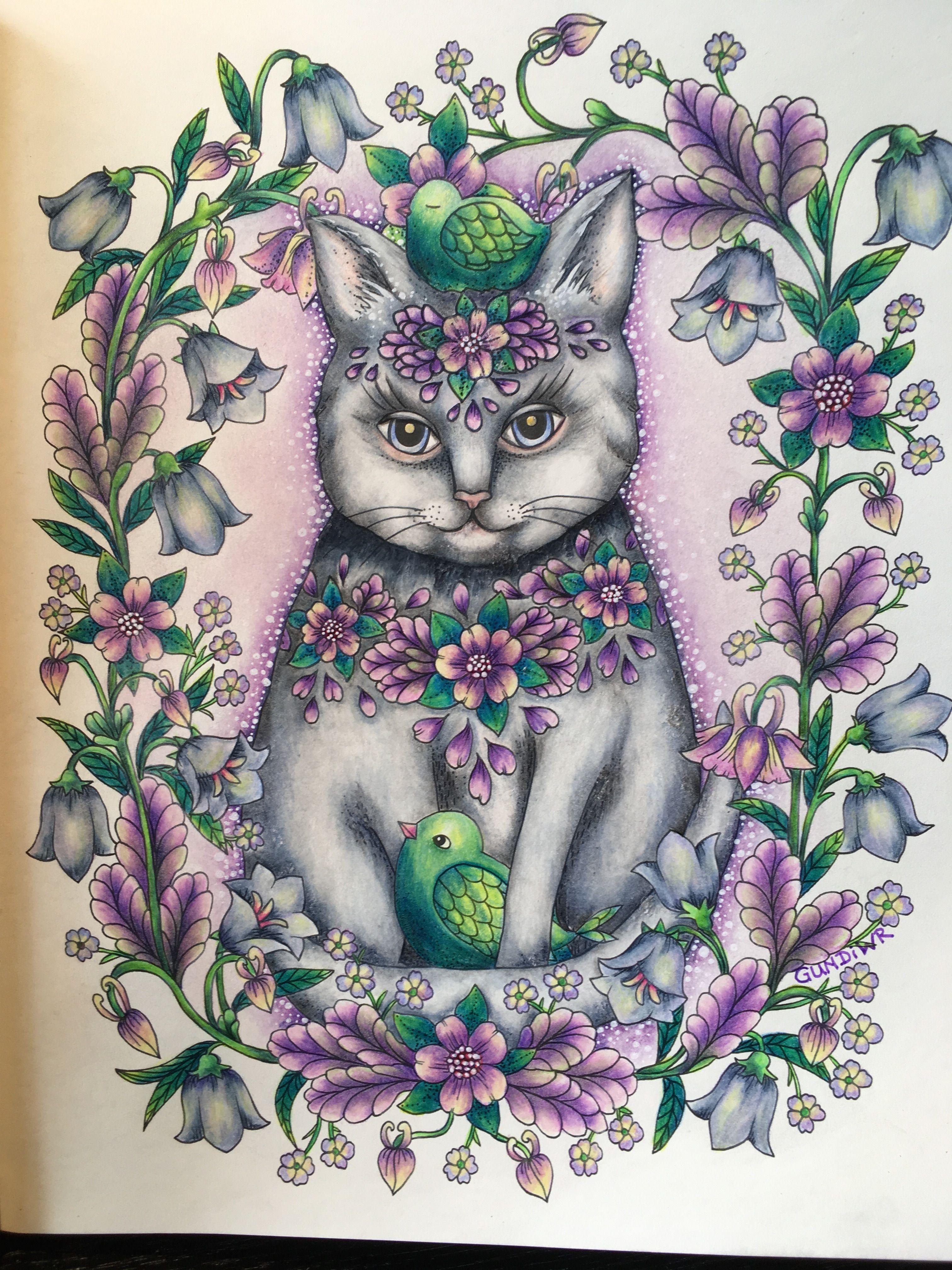 The Flower Cat Maria Trolle Twilight Garden Wonderful FlowersThe FlowersColoring BooksAdult