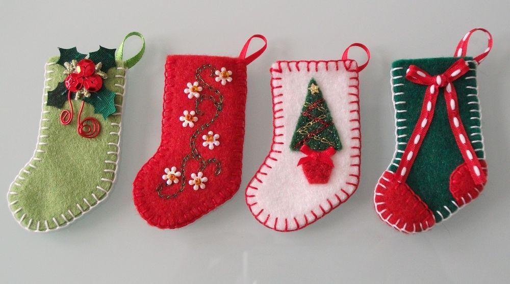 4 Handmade Handsewn Miniature Felt Christmas Stocking Ornaments