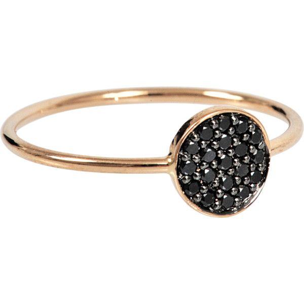 Ginette NY Large Black Diamond 18-karat rose gold Disc ring YVi67TwqLe