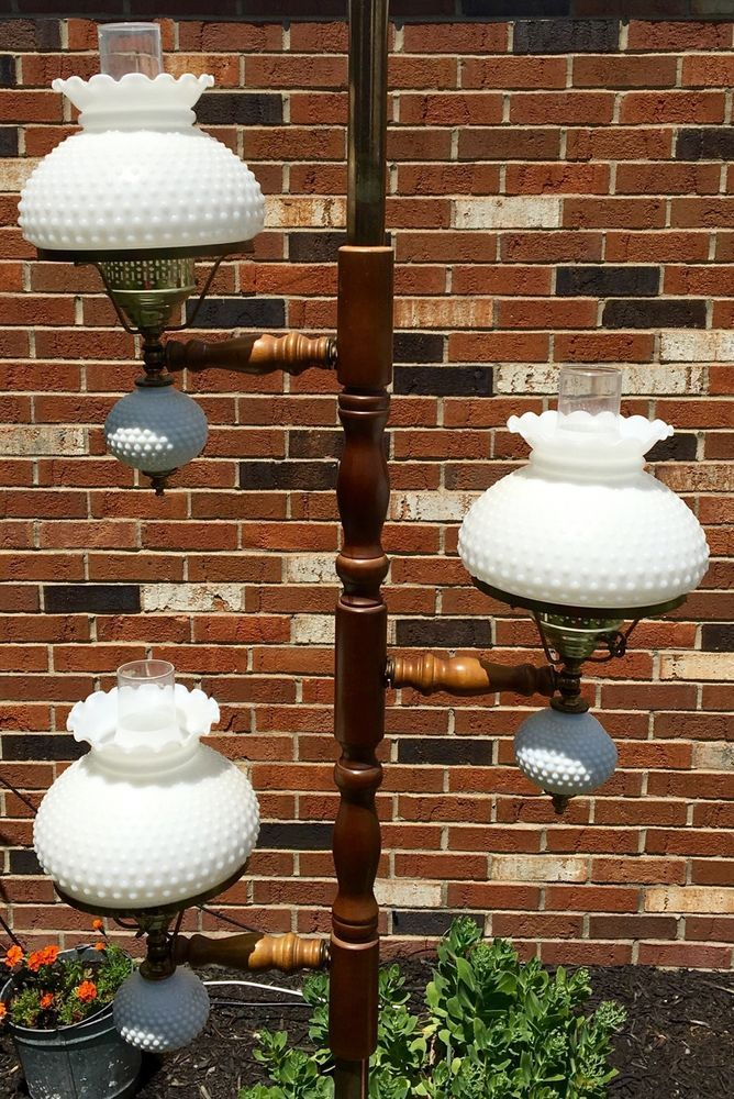 Hobnail Milk Glass Floor Lamp, Vintage 9' Tension Pole Brass Wood Floor Lamp 3 White Milk