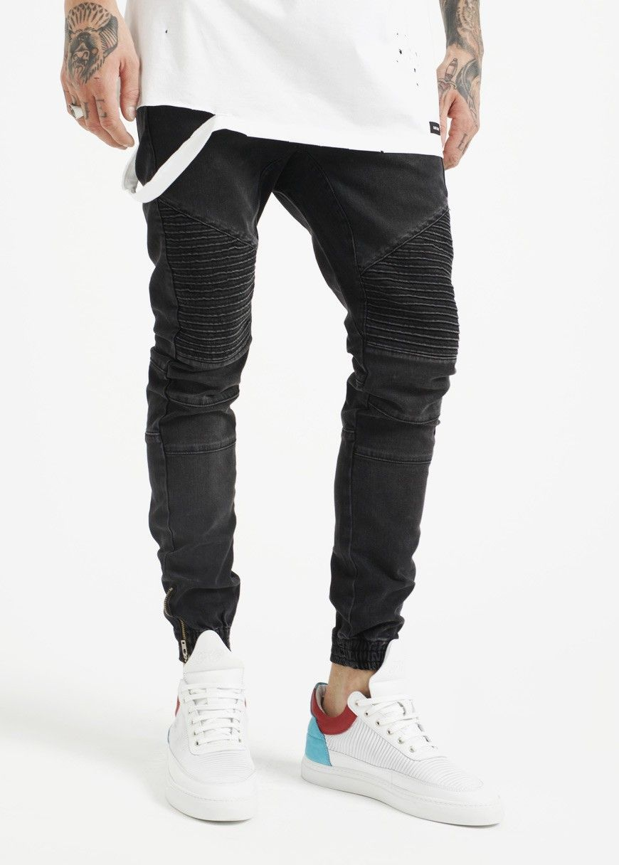 df076a42 Coutie Biker Denim Jogger Black Wash | COUTIE | Men's Fashion ...