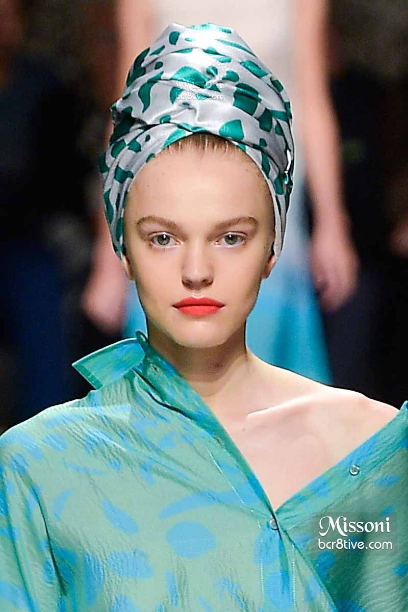 Missoni Spring 2015 - Printed Aqua Hair Turban