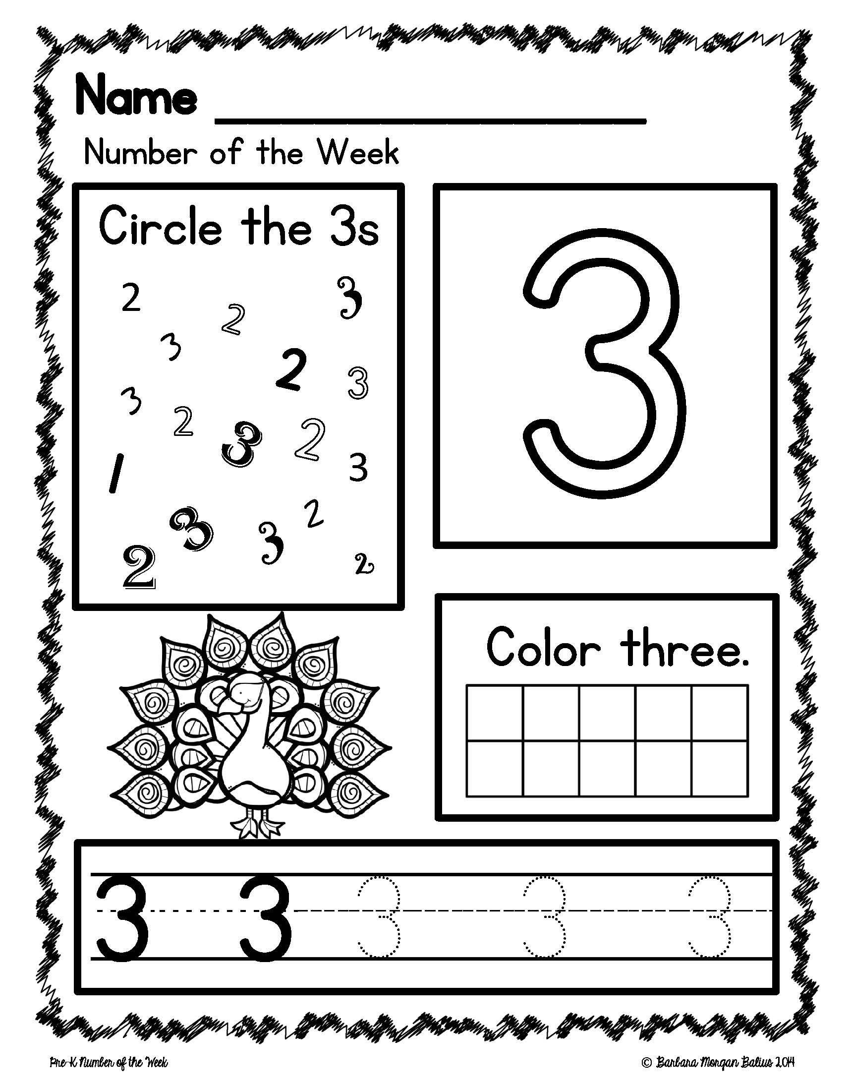 Number Worksheet Pre K
