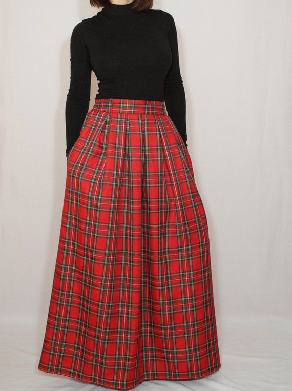 c1475bae4a Red plaid skirt Tartan skirt Women maxi skirt Wool skirt High waisted maxi  skirt with pockets