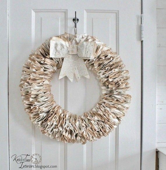 2014 DIY paper Christmas wreath with bow decorations craft - door decor diy paper craft & 2014 DIY paper Christmas wreath with bow decorations craft - door ... pezcame.com