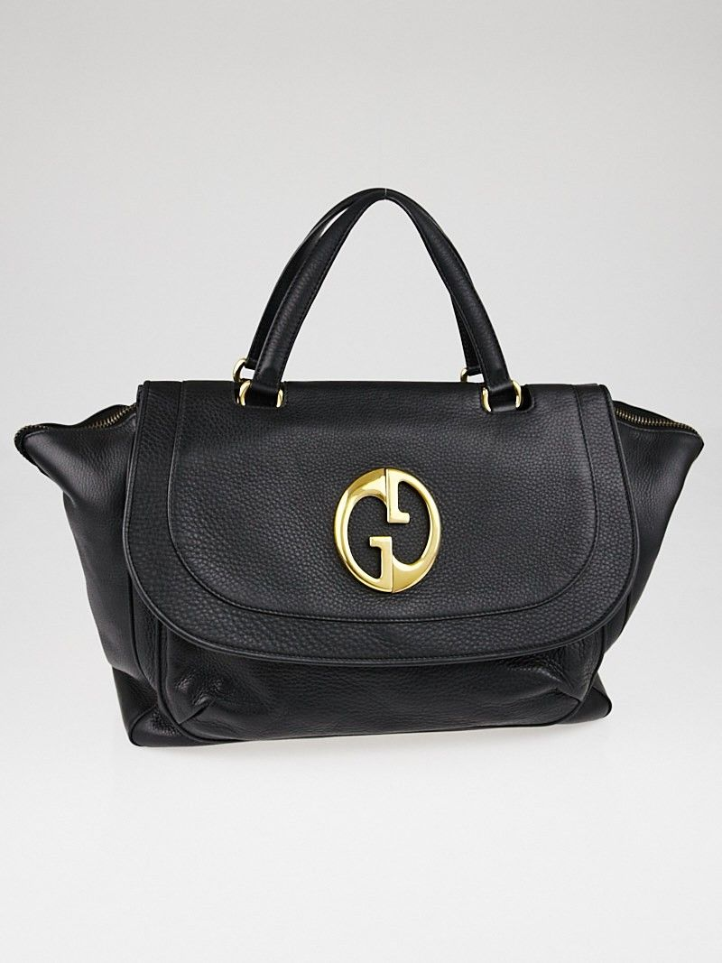 584152f8e7e367 Gucci Black Pebbled Leather '1973' Large Top Handle Tote Bag | Top ...