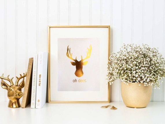 Oh Deer gold foil print by TradeandUnion on Etsy