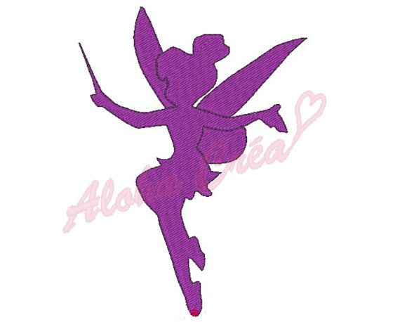 Machine embroidery design shadow outline tinker bell - Fee clochette ombre ...