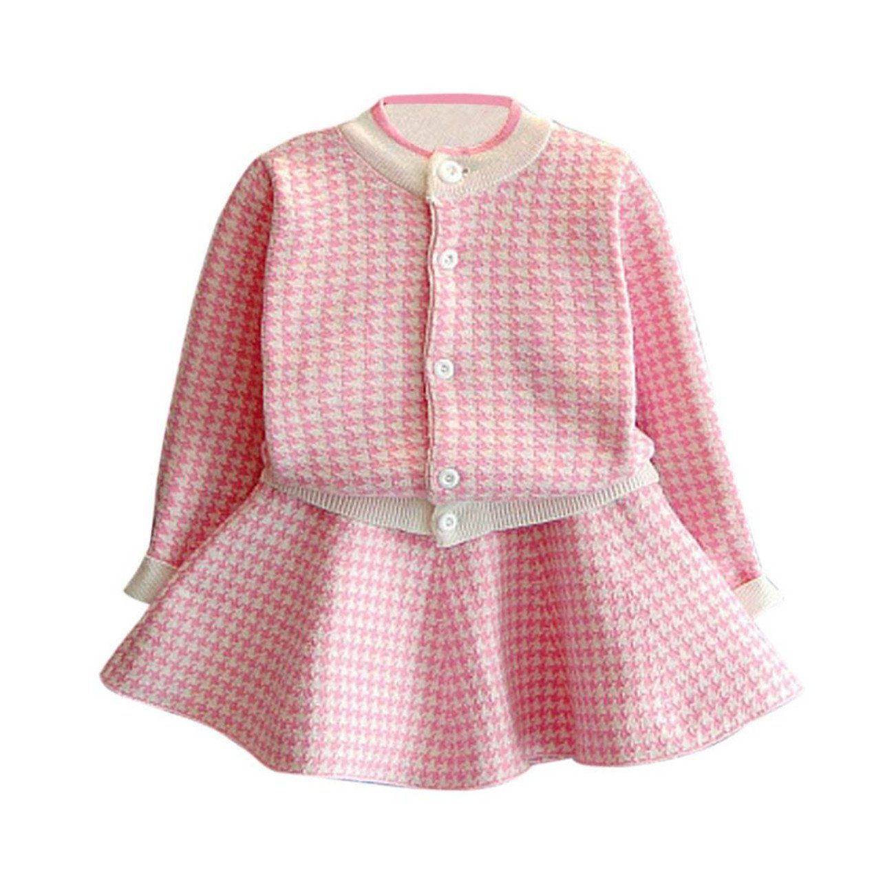 Toddler Kid Baby Girl Autumn Winter Plaid Knitted Sweater Dress Coat Tops and Skirt Set