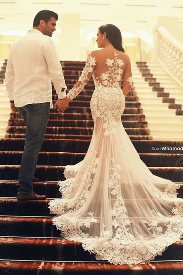 New Fashion Sexy See Through Mermaid Wedding Dresses Sheer Scoop And Back Court Train Applique Lace Long Sleeve Bridal Gowns