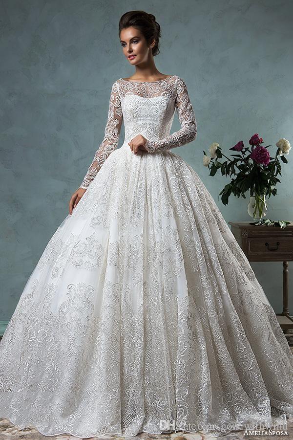 Wedding Dresses Ball Gown Style Lace Wedding Dresses Long Sleeves