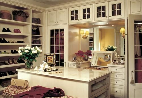 Walk In Closet With Vanity And Washer Dryer