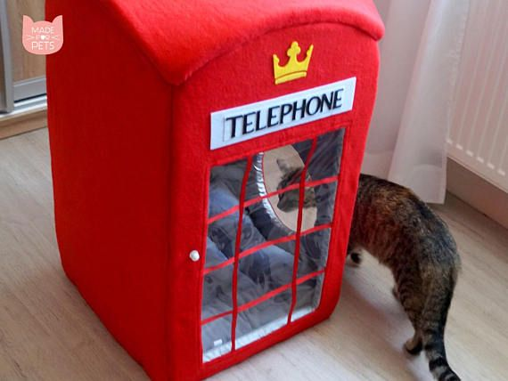 London Telephone Booth Cat House Red Phone Box Cat Furniture Big